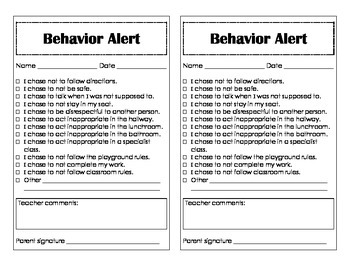 Behavior Alert