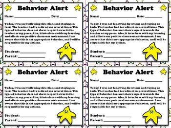 Behavior Alert - Note for Parents  - King Virtue