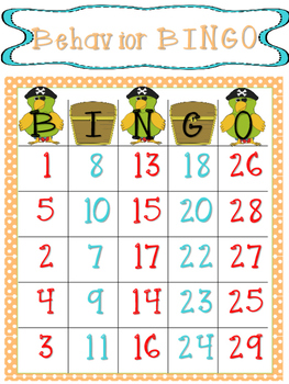 Behavior Bingo Pirate Theme