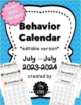 Behavior Calendar 2016-2017 editable
