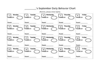 Behavior Calendar - September