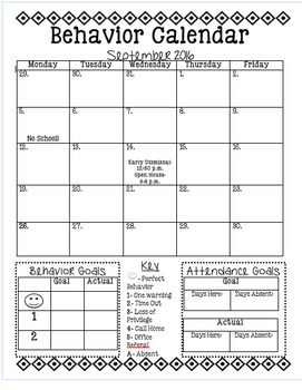 Behavior Calendar and Goal Setting Sheet