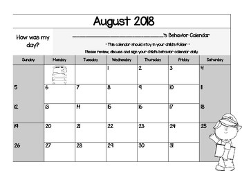 2016-2017 Monthly Behavior Calendar