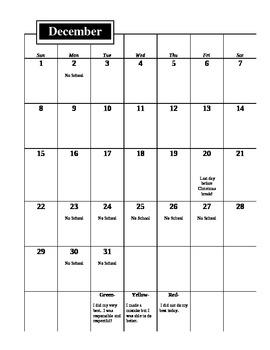 Behavior Calendar for Student Folder