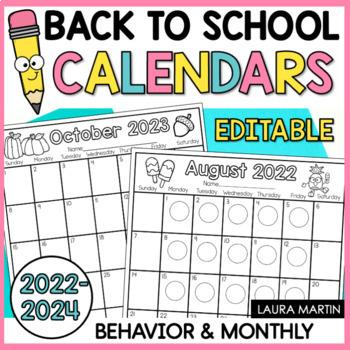 Behavior Calendar-Monthly 2016-2017 (Editable)