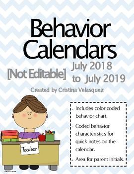 Behavior Calendars July 2016 - July 2017  [NOT EDITABLE] UPDATED!