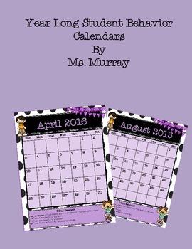 Behavior Calendars for 2015-2106 School Year