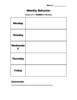 Simple Weekly Behavior Chart