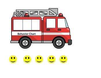 Behavior Chart (5 Boxes) Firetruck Theme