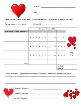 Behavior Chart - Heart Theme