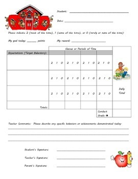 Behavior Chart - School Theme