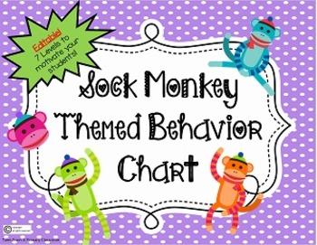 Behavior Chart-Sock Monkey Theme! Editable-7 Levels to enc