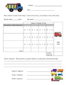 Behavior Chart - Truck Theme