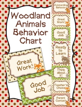 Behavior Chart Woodland Animal Theme