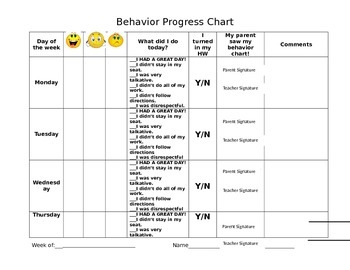 Behavior Chart w/ Comment Section