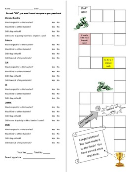 Behavior Chart with Gameboard