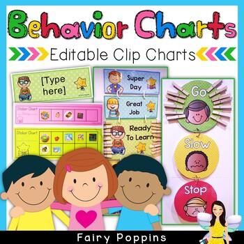 Behavior Clip Charts ~ 4 Styles & Editable