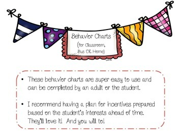 Behavior Charts for Classroom, Home, or Bus