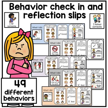 Behavior Check In and Reflection Slips. Autism Behavior Ma