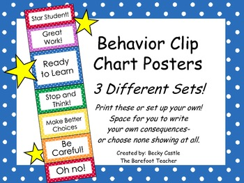 Behavior Clip Chart ~3 Different sets to choose from, smal