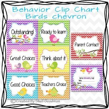 Spring Behavior Clip Chart - Birds chevron