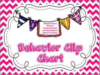 Chevron Behavior Clip Chart and Behavior Report Bundle