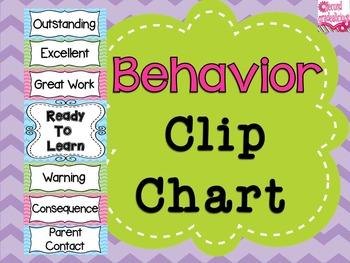 Chevron Behavior Clip Chart Classroom Decor