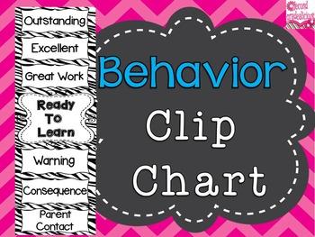 Behavior Clip Chart Classroom Decor Labels in Zebra Print