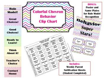 Behavior Clip Chart- Colorful Chevron