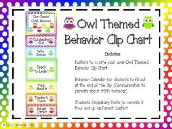 Behavior Clip Chart Pack *Owl Themed