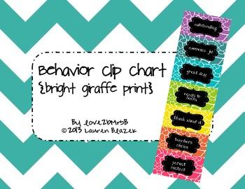 Behavior Clip Chart System {Bright Giraffe Print}