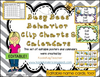Behavior Clip Chart and Calendar with Bees Bundle - Editable!