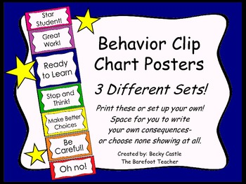 Behavior Clip Chart ~3 Different sets to choose from, brig