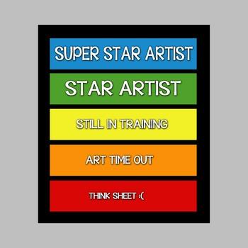 Behavior Color Chart for Art Room