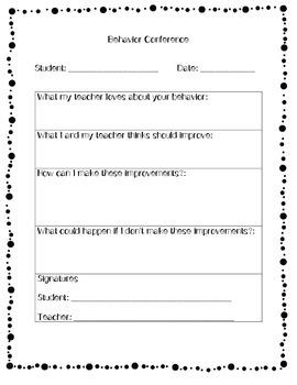 Behavior Conference Form