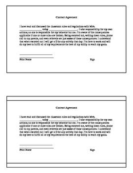 Behavior Contract Agreement