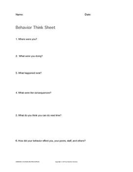 Student Worksheet For Alternative Schools/ISS