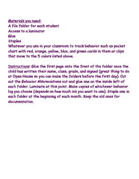 Behavior Log for Any Classroom