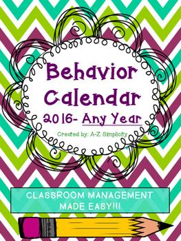 Behavior Management Calendar for ANY school year!