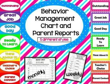 Behavior Management Charts and Parent Reports English/Span