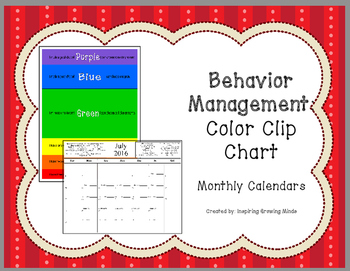 Behavior Management Color Clip Chart Calendars