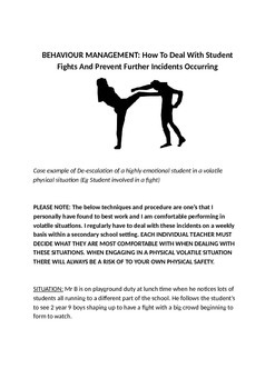 Behavior Management: De-escalating students fighting/argui