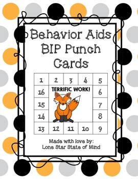 Behavior Management Punch Cards