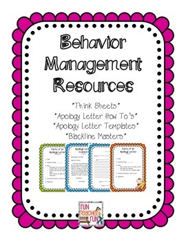 Behavior Management Think Sheets and Apology Letters