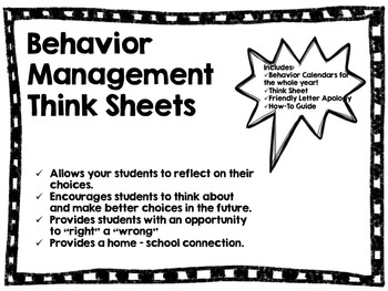 Behavior Management Think Sheets and Communication