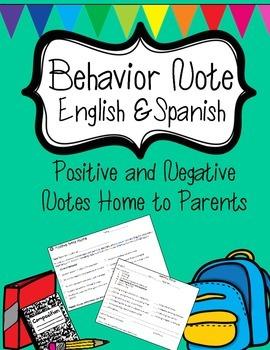 Behavior Note English and Spanish