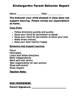 Behavior Parent Report