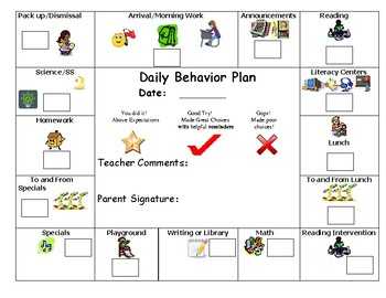 Behavior Plan for Work Habits