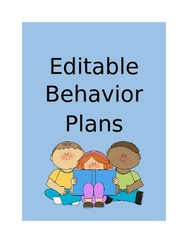 Behavior Plans - Editable