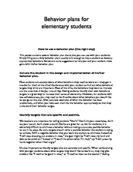 Behavior Plans for Elementary Students